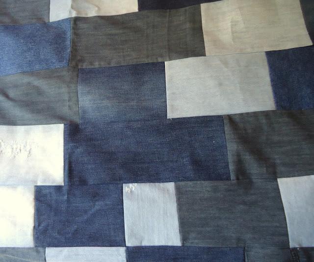 patchwork, narzuta z jeansów diy