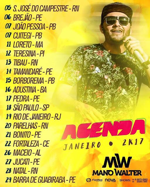 Agenda de Shows cantor Mano Walter Março  - 2017