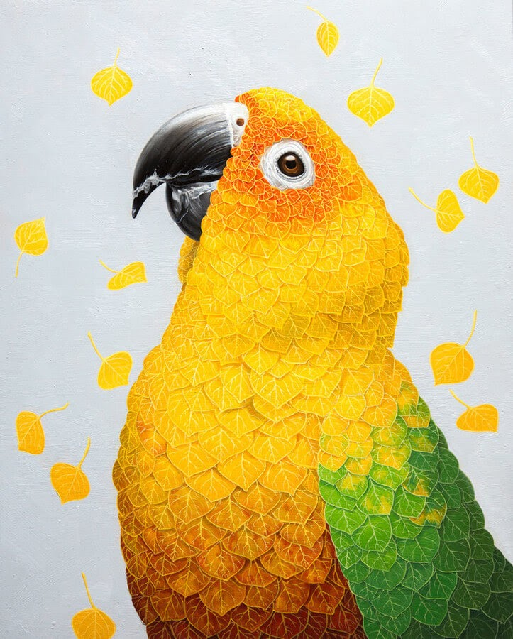 12-Leaves-Parrot-Jon-Ching-Animal-Oil-Paintings-www-designstack-co