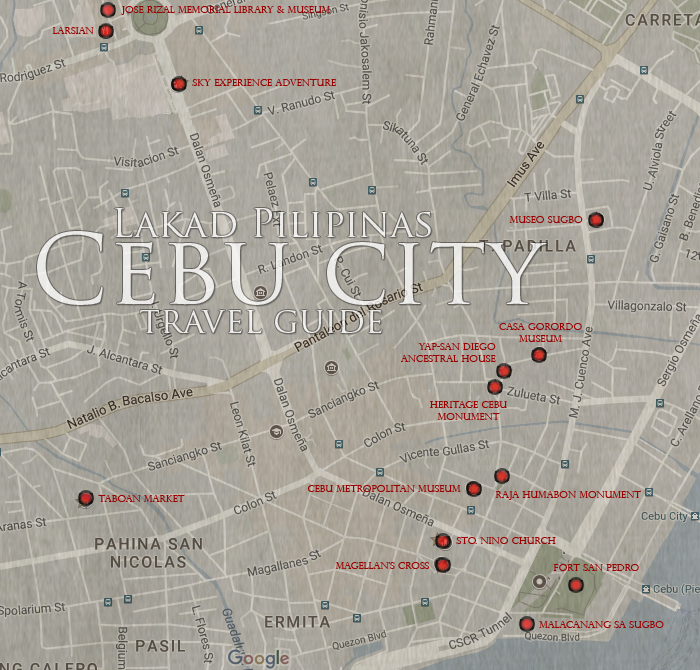 Cebu City Tourist Spot Map