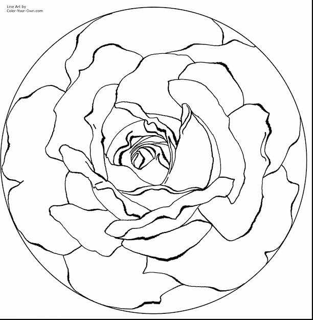 Stunning Printable Rose Mandala Coloring Pages With Mandela Coloring Pages  And Mandala Coloring Pages Simple