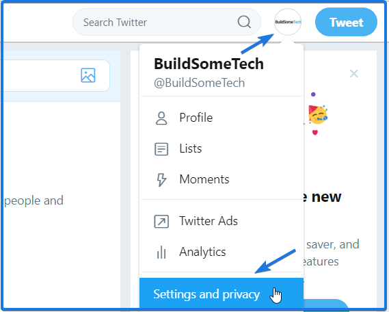 Twitter Settings and privacy Tab