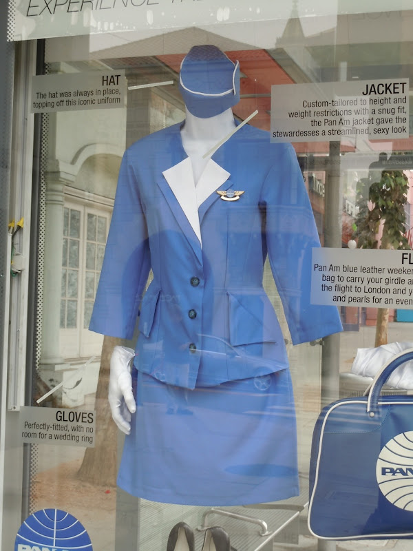 Pan Am costume promotional bus shelter