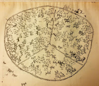 A pencil-drawn image of a big circle divided into three parts, like one would cut a pie. Inside each parts are filled with reindeers, interspersed with human figures here and there. There are four animals, presumably dogs, outside the circle in the bottom left corner of the drawing.