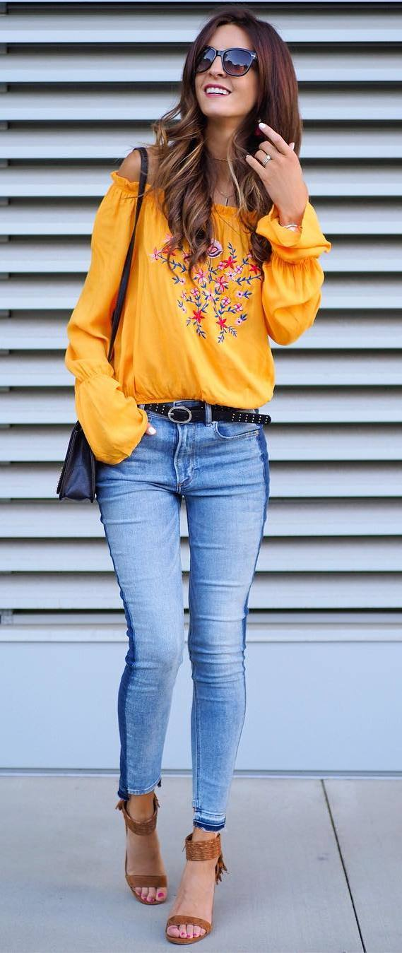 cute boho style outfit: off shoulder top + jeans