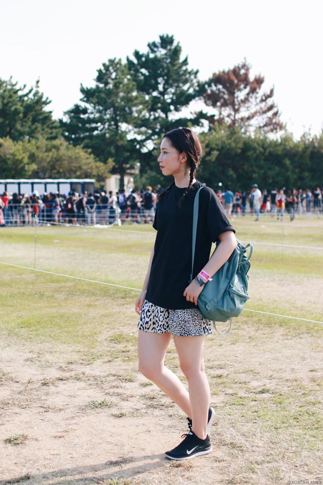 ファッションブロガー日本人、MizuhoK,今日のコーデ、ONE OK ROCK渚園ライヴコーデ女、SheInブラックTシャツ、ZARAレオパードショートパンツ、NIKEニットスニーカー、I like paperペーパーウォッチ、KANKENバックパック、三つ編みヘア、カジュアルコーデ