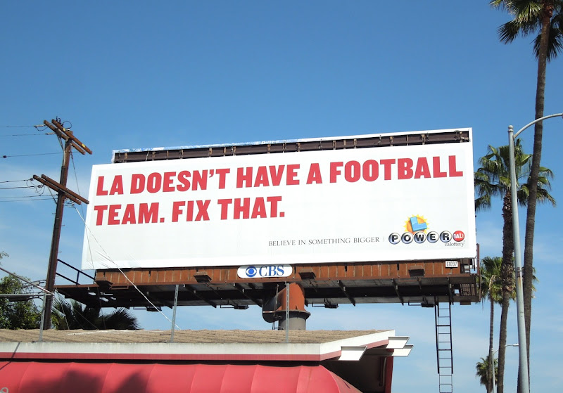 LA football team Powerball Lottery billboard