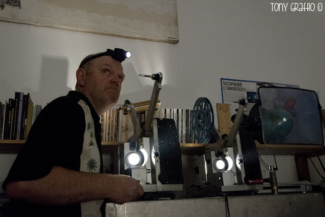 Richard Tuohy at the projectors during the projections of Dot Matrix