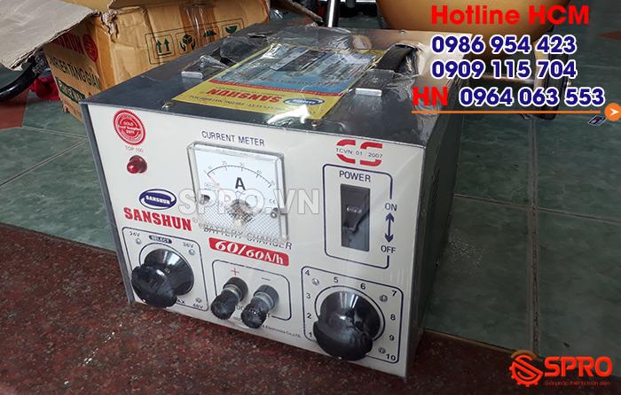 Giá máy sạc điện bình ắc quy xe máy sanshun 60A bao nhiêu