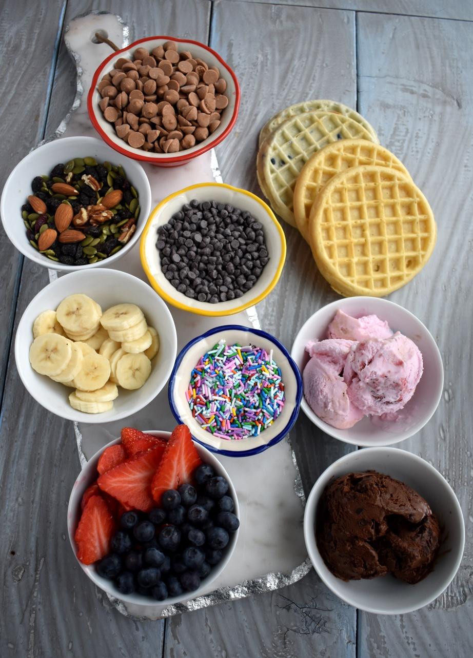 Dessert waffle bar toppings