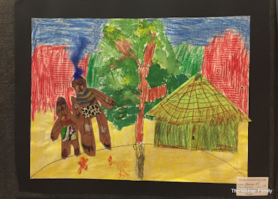 Jackson's art piece - a Zulu Village.