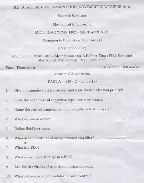 ME2401 MECHATRONICS ANNA UNIVERSITY QUESTION PAPER NOVEMBER