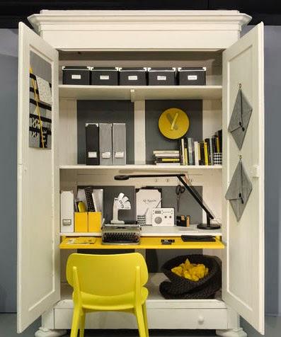 A desk in the closet home decor blog mydecolab - Bureau dans armoire ...