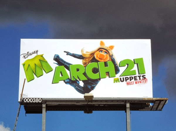 Miss Piggy Muppets Most Wanted movie billboard