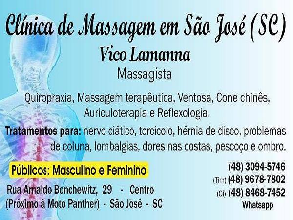 Clínica Massagem Terapeutica Massoterapia Quiropraxia em São José SC