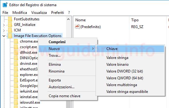 Windows 10 Registro sistema creare nuova chiave