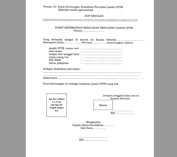 Format Surat Keterangan Penganti Ijazah STTB SD SMP SMA SMK