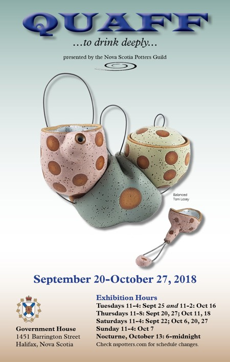 QUAFF: to drink deeply - exhibition by Nova Scotia Potters Guild.