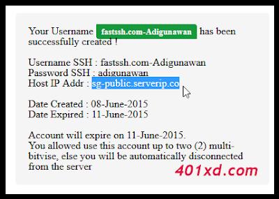 Trik agar SSH Server Fast SSH Tidak Mudah Disconnect, Cara membuat akun ssh sendiri, Daftar SSH Singapura, Membuat SSH SG.DO Gratis.