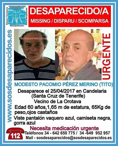 Hombre desaparecido Candelaria, Tenerife