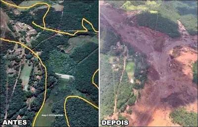 antes e depois do rompimento da barragem