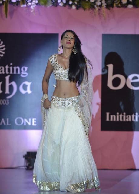 Nia Sharma in White Lehenga Choli at Beti show by Anu Ranjan