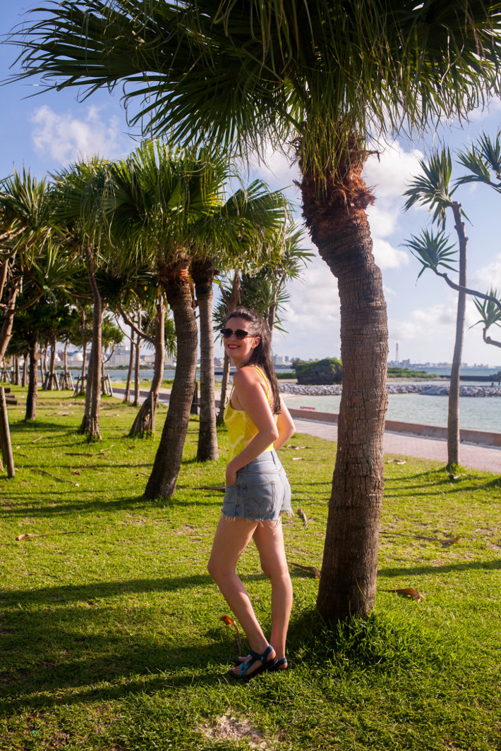 Lemon print swimsuit at Araha Beach