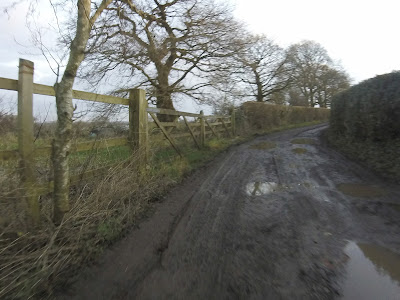 A muddy, and icy lane. Morning cycle.