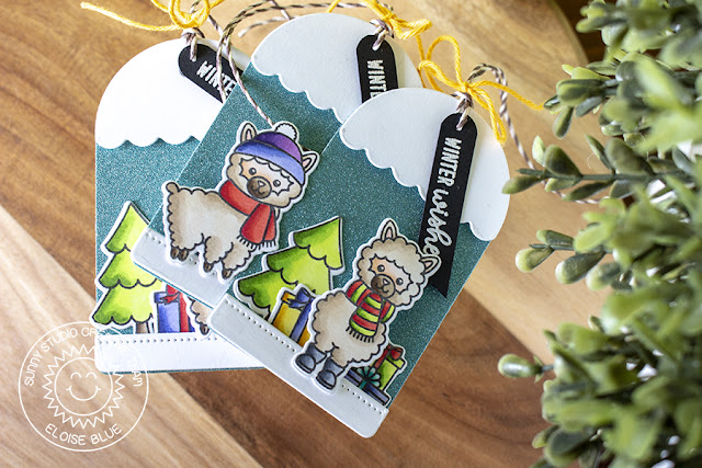 Sunny Studio Stamps: Build A Tag Alpaca Holiday Christmas Tags by Eloise Blue