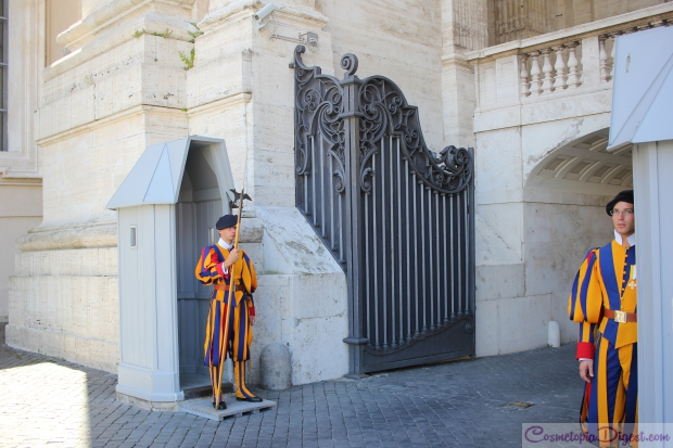 Swiss guards in front of the famous bronze doors.