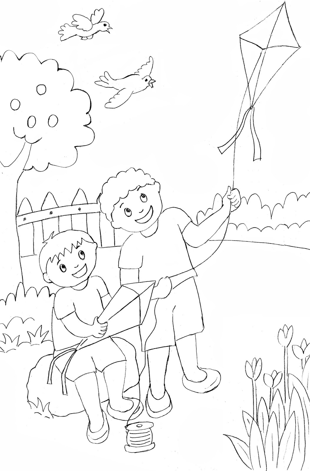 Contoh Gambar Gambar Mewarnai Anak Anak Bermain - KataUcap