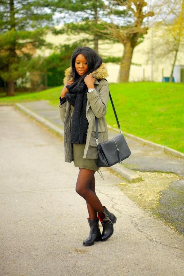parka mini robe et bottes motardes styles by assitan. Black Bedroom Furniture Sets. Home Design Ideas