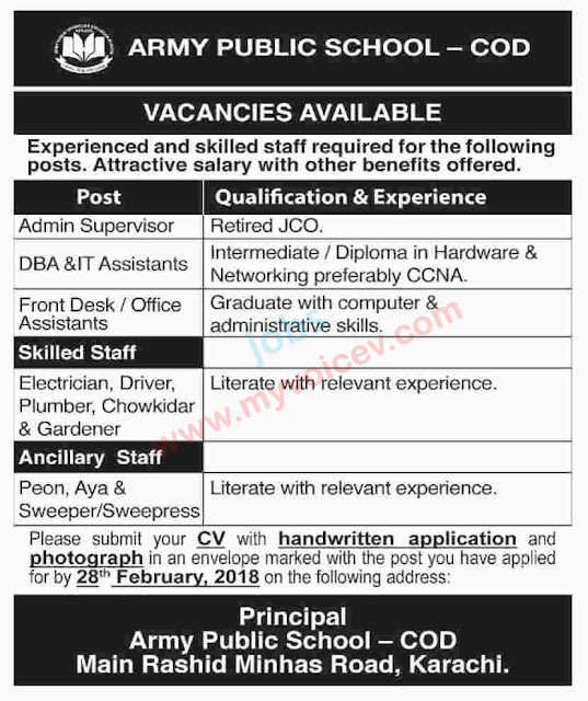 Jobs in Army Public School - COD - Vacancies available  - apply latest by Feb 28th 2018
