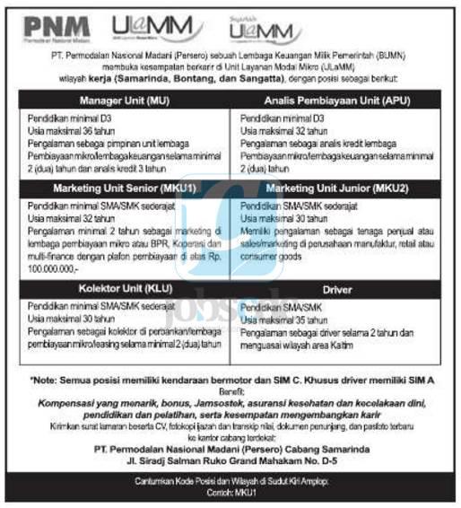 Lowongan Kerja PNM Mandiri Untuk SMK/D3/S1 Semua Jurusan