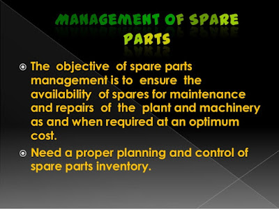 Spare Parts Availability Required for Plant and Equipment Maintenance, Emergency and Commissioning Purposes
