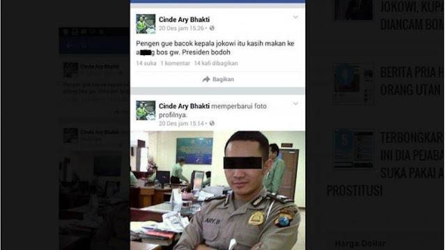 Koplak! Polisi Ini Ingin Bacok Bacok Kepala Presiden Jokowi