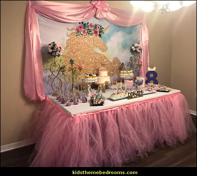 Unicorn Themed Birthday party banner photo backdrop background watercolor floral rose magical Gold Glitter