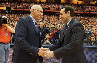 Boeheim and Krzyzewski shake hands