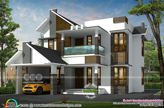 3 bedroom mixed roof modern house plan