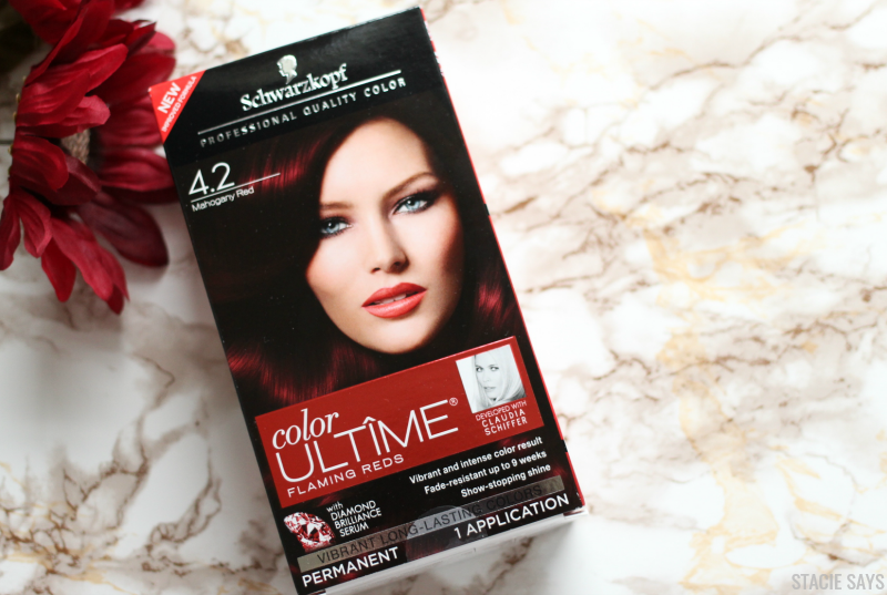 a burgundy color ultime hair dye