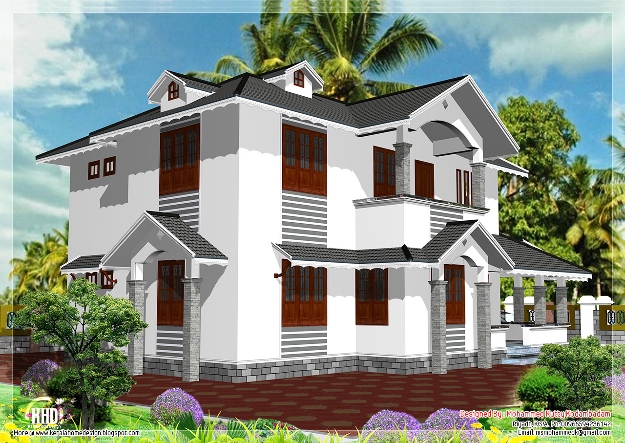 2108 4 bedroom house design kerala home design for Sloped roof house plans in india