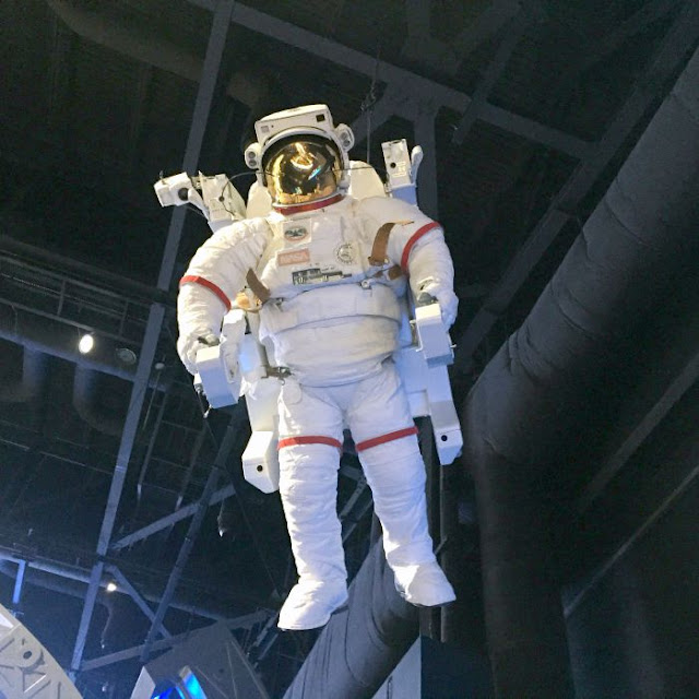 What's So Great About Florida Anyway P2 | Morgan's Milieu: Spacesuit floating above us at the Kennedy Space Center