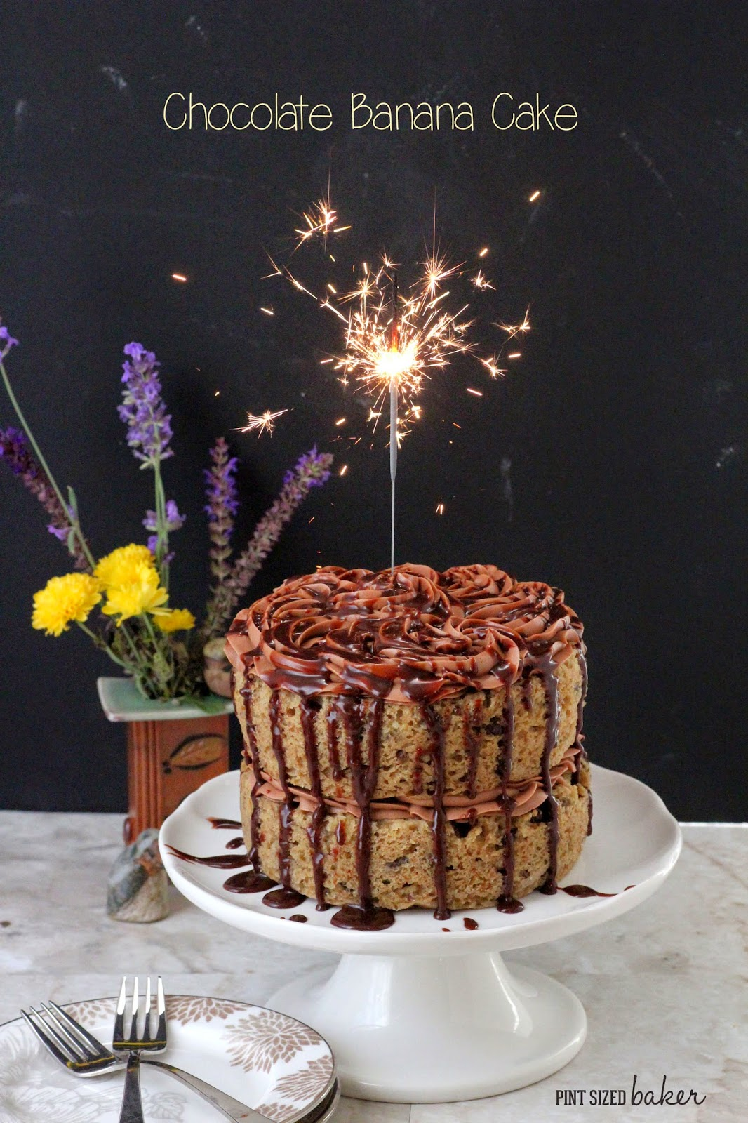 Celebrate your next birthday with a banana cake that is full of walnuts and chocolate chips and topped with an easy chocolate hazelnut frosting.