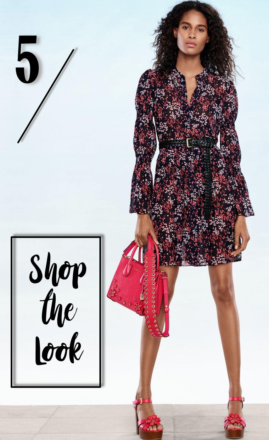 MICHAEL MICHAEL KORS Floral Shirtdress, Mercer Crossbody, Leather Handbag Strap, Tara Platform Sandal