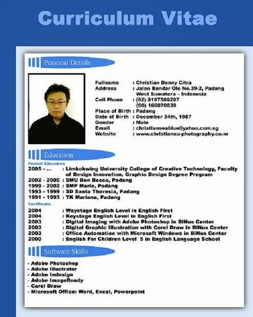 Contoh Cv Surat Lamaran Kerja Bahasa Indonesia