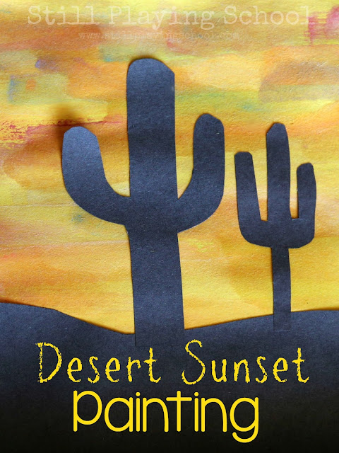 Kids can paint a desert sunset with watercolors