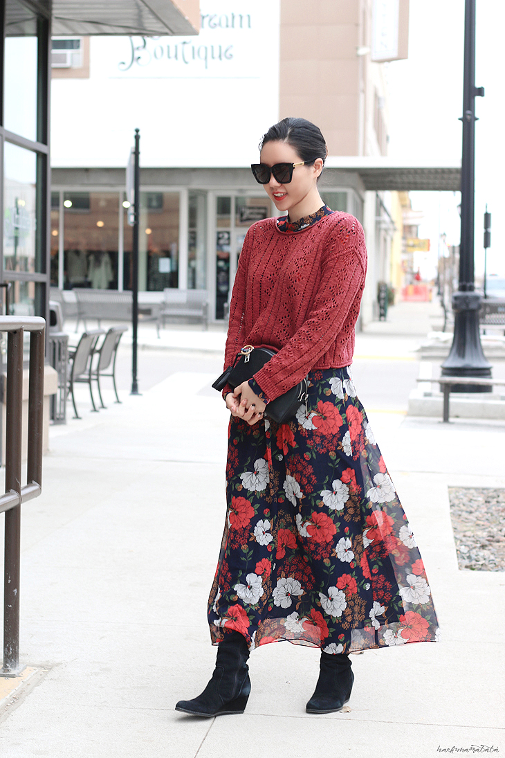 Zara Floral Dress OOTD: Knee High Boots, Maxi Dress, Sweater, Oversized Sunglasses