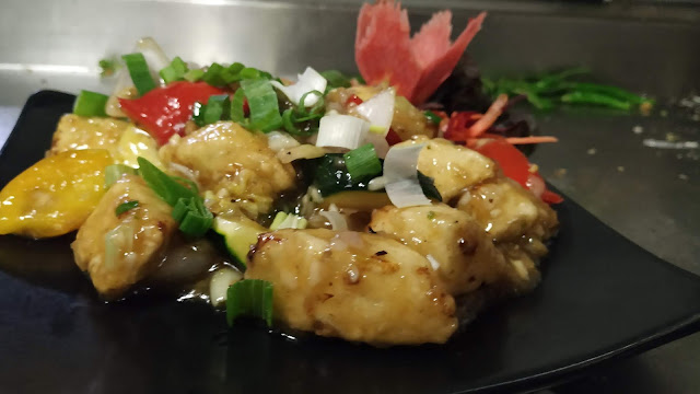 Ginger Honey Paneer  with garnish Food recipe