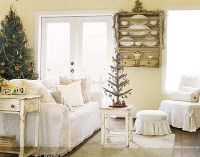 inspiring white shabby chic living room furniture | 5 Inspiring Christmas Shabby Chic Living Room Decorating ...