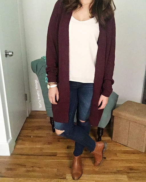 Oversized cardigan and vneck cami outfit